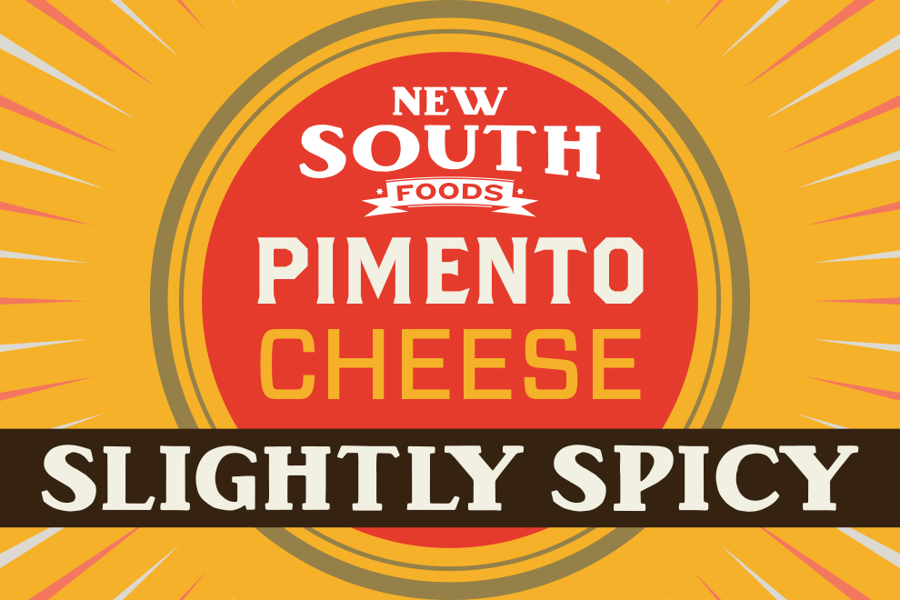 New South Food Pimento Cheese Slightly Spicy label graphic