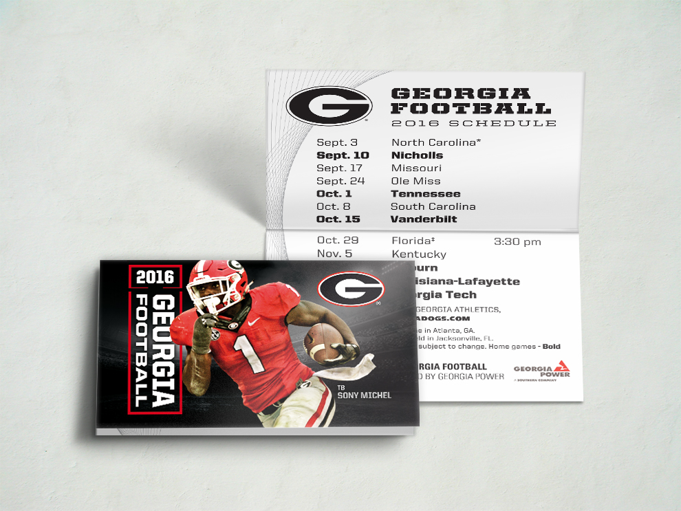 UGA Football 2016 schedule card