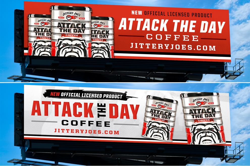 Jittery Joe's Attack the Day Coffee digital billboards